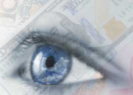 Counterfeit banknotes being visually checked.