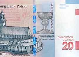 Poland 20 zloty commemorative banknote thumbnail.