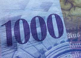 Switzerland 1000 high value banknote.