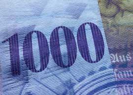 Switzerland 1000 high value banknote.