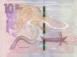 Thumbnail image of new Colombia 10,000 peso banknote