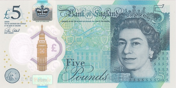 UK five pounds polymer 2016
