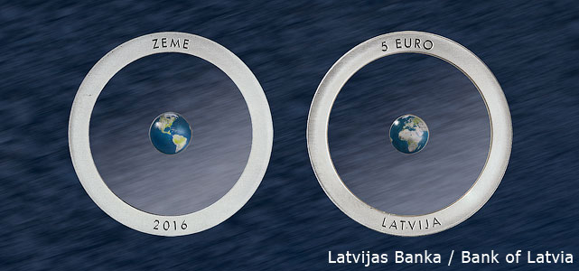 """An image of the 5 euro collector coin from Latvia, """"The Earth""""."""