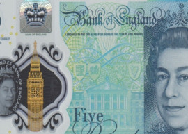 Thumbnail image of a section of the new polymer £5 banknote containing animal fat.