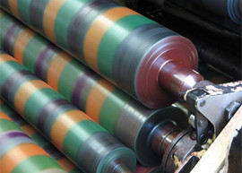 Image of ink rollers from a banknote printing machine.