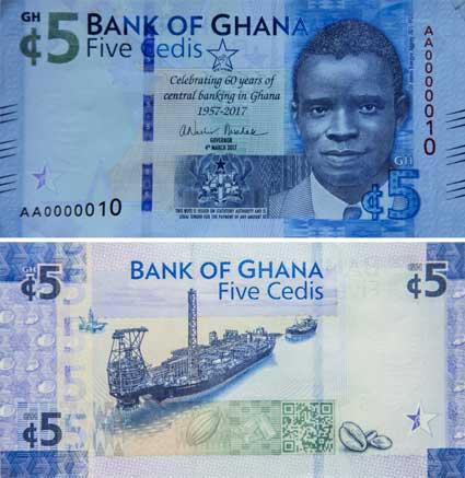 Image of the new 5-cedi commemorative banknote.