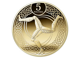 Image of the front of the Manx five pound coin.