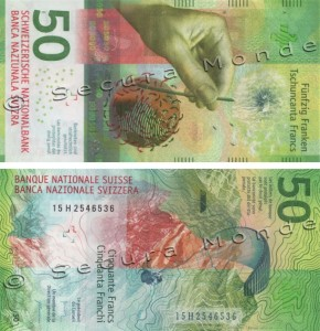 Image of the Switzerland Swiss 50 franc banknote issued April 2016.