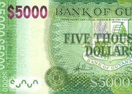 guyana 5000 banknote