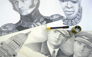 Our business: Pre issue image featuring portrait drawings for banknote designs.