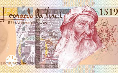 Banknote design of Leonardo Da Vinci