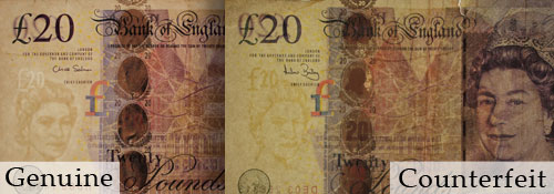 Comparison of genuine and counterfeit banknotes