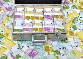 Suitcase filled with euro banknotes