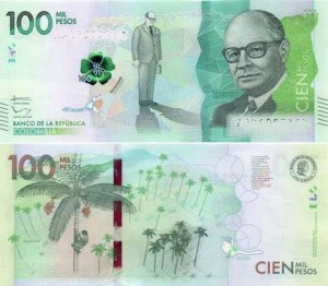 The new 100 million Colombian banknote