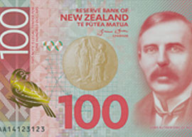 New Zealand 100 banknote thumbnail.