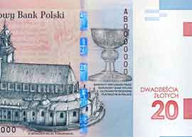 Poland 20 zloty commemorative banknote thumbnail.