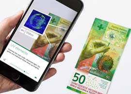 Swiss app for 50 franc banknote