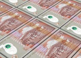 Thumbnail of stacked Mauritius 500 banknotes.
