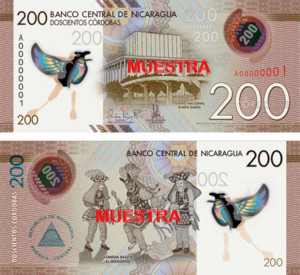 Banknote of the Year 2016 - The new 200 cordobas banknote.