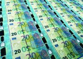 A sheet of uncut Europa series 20 euro banknotes.