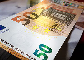 Euro 50 banknote of the Europa series.