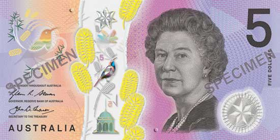 The front of the new Australian five dollar banknote issued 2016.