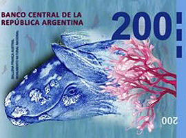 Thumbnail image of new 200-peso banknote from Argentina.