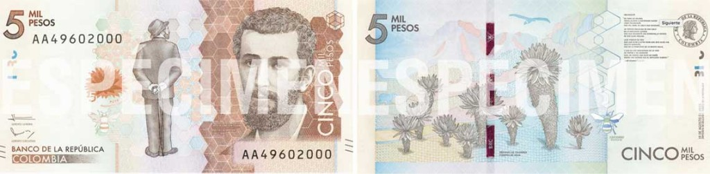 Image of the front and back of the new Colombian 5000-peso banknote issued 2016