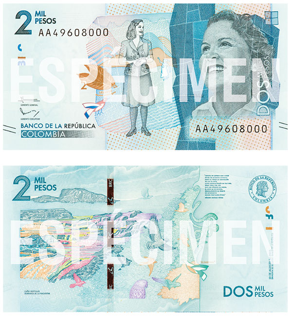 Image of the new Colombia 2000-peso banknote.