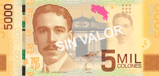 Image of Costa Rica 5000 banknote Series A