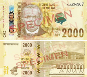 Image of the new Malawi 2000 banknote to be issued December 2016