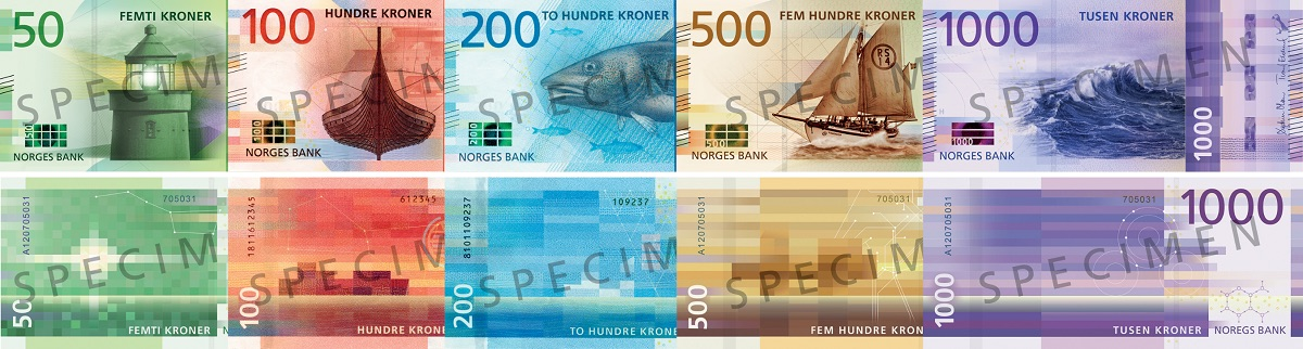 The new banknote family from Norway, to begin circulating from 2017.