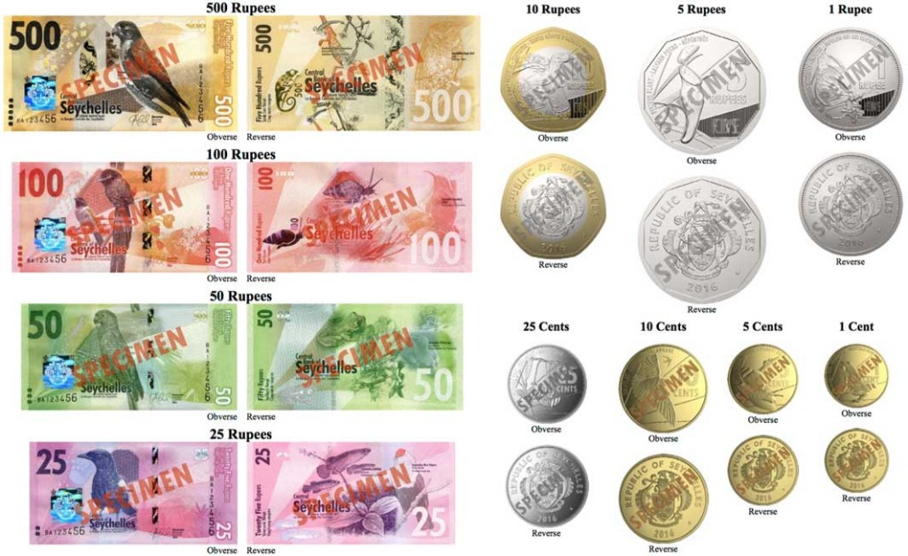 The new Seychelles banknote and coin family, issued 2016.