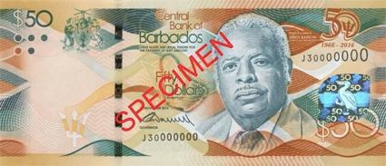 The commemorative $50 Barbados banknote 2016