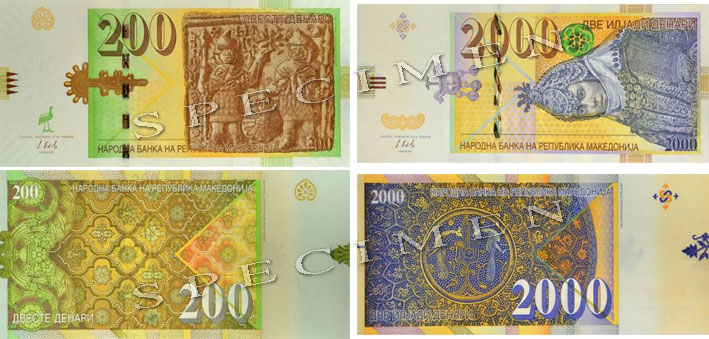 The new 200 and 2000 Denar banknotes from Macedonia.
