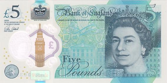 UK five pounds polymer 2016