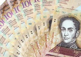 Fan of Venezuela 100 banknotes.