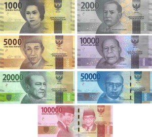 Indonesia 2016 banknote family.