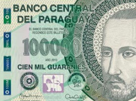 Thumbnail image of the upgraded 100,000 Paraguay banknote.
