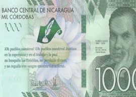 Thumbnail image of the front side of the 2017 commemorative Nicaragua 1000 banknote.