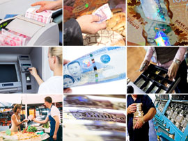 Montage of images showing cash in use.