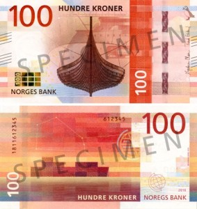 The new 100-krone banknote from Norway.