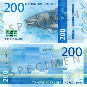 The new 200-krone banknote from Norway.