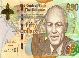 Thumbnail image of The Bahamas 2006 issue $50 banknote to use Durasafe®.