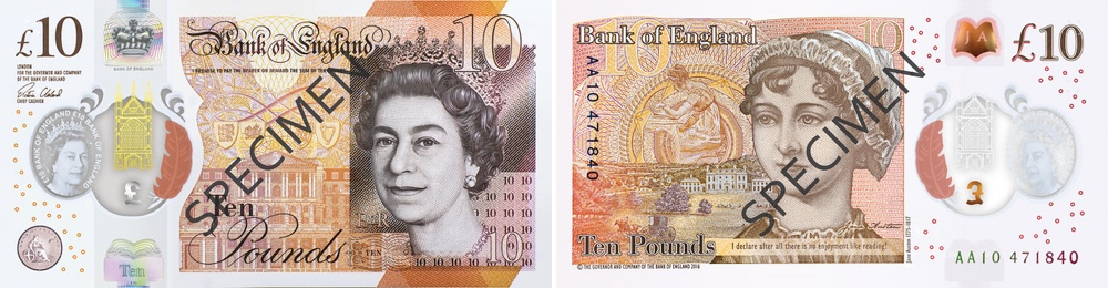 Image of the Bank of England new ten pound banknote 2017.