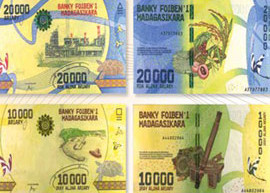 Thumbnail image of the new Madagascar banknote family