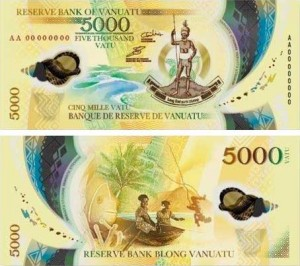 Image of the Vanuatu 5,000 polymer banknote issued 2017.