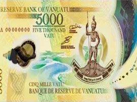 Thumbnail image of the Vanuatu 5,000 polymer banknote.