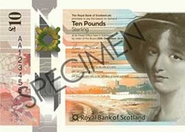 A thumbnail image of the Royal Bank of Scotland (RBS) £10 banknote design 2017.