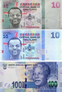 Comparison of the Swaziland 10 and SA 100 banknotes.
